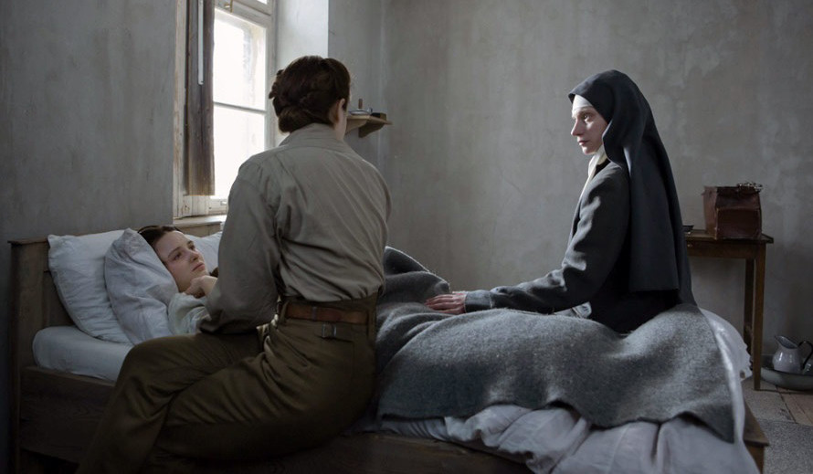 "Agata Buzek, Lou de Laâge and Anna Próchniak in ""The Innocents"" (2016)."